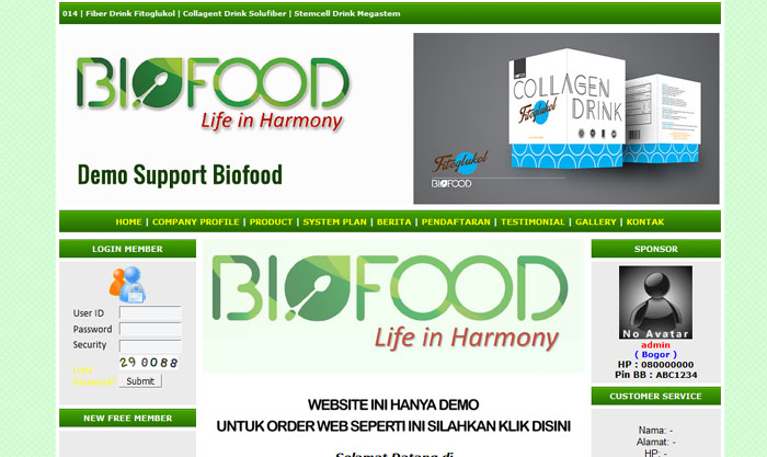 Web support Biofood